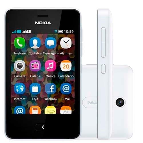 nokia asha 501 dual chip branco wi-fi cam 3.2mp i novo