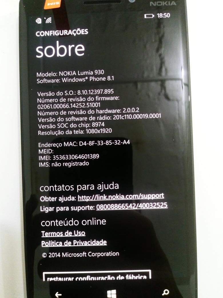 e17c8952ba5 Nokia Lumia 930 Windows Phone 8.1 32gb - R$ 890,00 em Mercado Livre