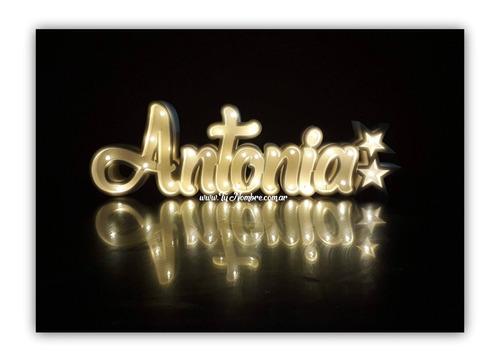 nombre iluminado de 7 letras de 25 cm polyfan