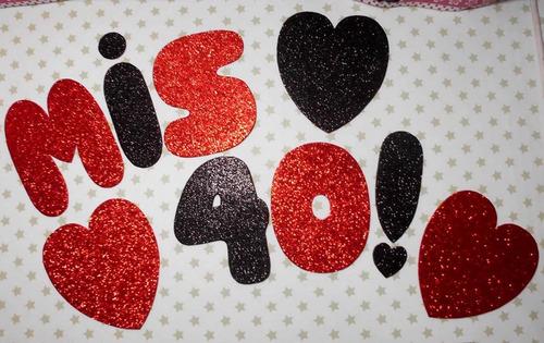nombre, letras, formas,en goma eva con brillo,10 cm. de alto