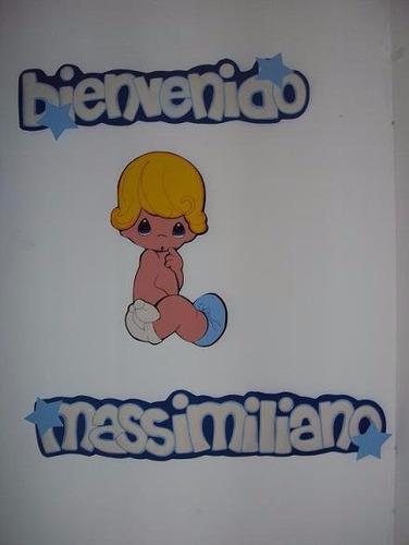nombres decorados en foami para baby shower, decoración,