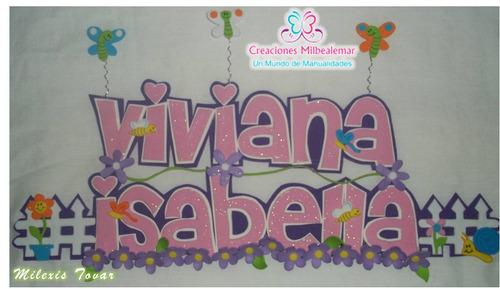 nombres decorados en foami para baby shower o nacimiento