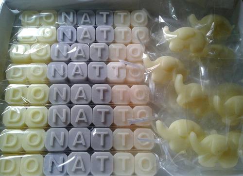 nombres en jabones + tarjetita personalizada. 4 letras
