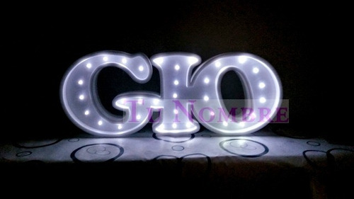 nombres iluminados 3 letras 35 cm polyfan cartel con luces