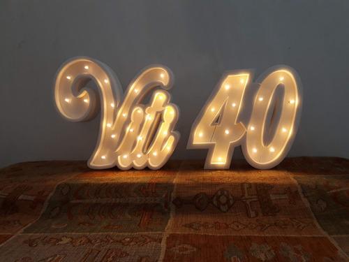 nombres iluminados 3 letras 50 cm - polyfan cartel con luces