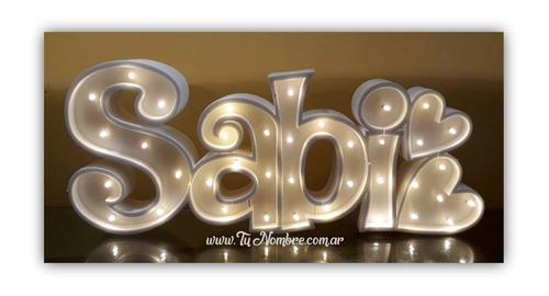 nombres iluminados 4 letras 20 cm polyfan tunombreimporta