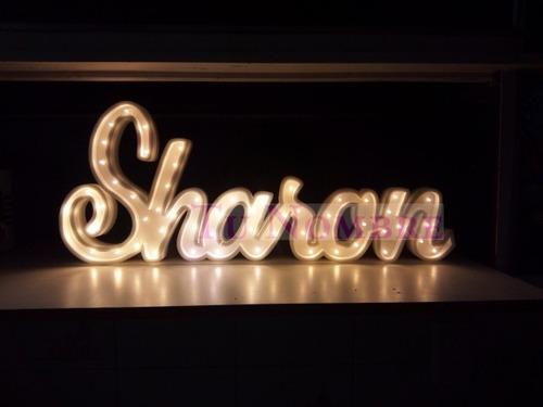 nombres iluminados 4 letras 30 cm polyfan cartel con luces