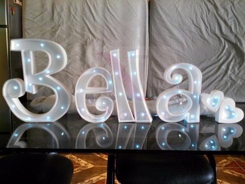 nombres iluminados 4 letras 35 cm - polyfan cartel con luces