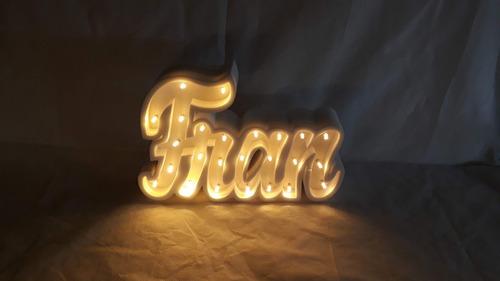 nombres iluminados 5 letras 20 cm - polyfan cartel con luces