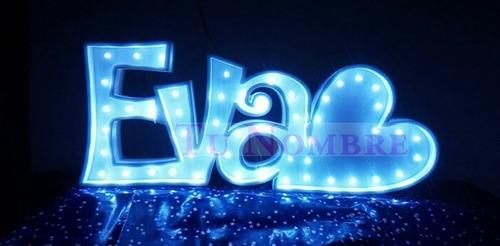 nombres iluminados 5 letras 25 cm polyfan cartel con luces