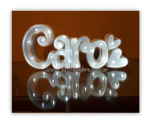 nombres iluminados 5 letras 40 cm polyfan belgrano urquiza