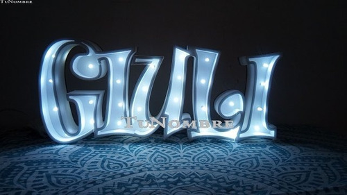 nombres iluminados 6 letras 25 cm polyfan cartel luces luz