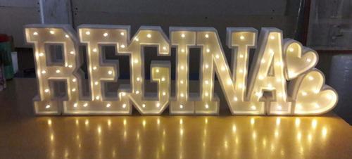 nombres iluminados 8 / 9 letras 15 cm polyfan cartel luces