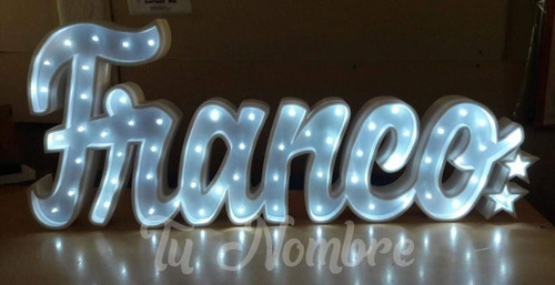 nombres iluminados 8 / 9 letras 25 cm polyfan luminosos
