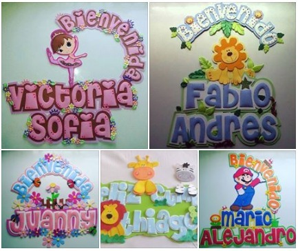 Nombres y decoraciones en goma eva en mercado libre - Decorar paredes infantiles con goma eva ...