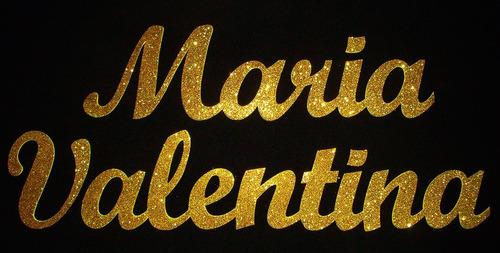 nome de parede 60 cm  mdf com glitter painel festa