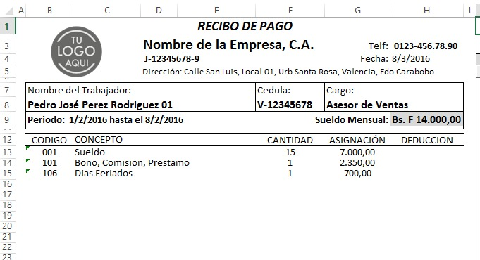 Nomina 2016 control recibo de pago lottt plantilla hoj for Recibo nomina excel gratis