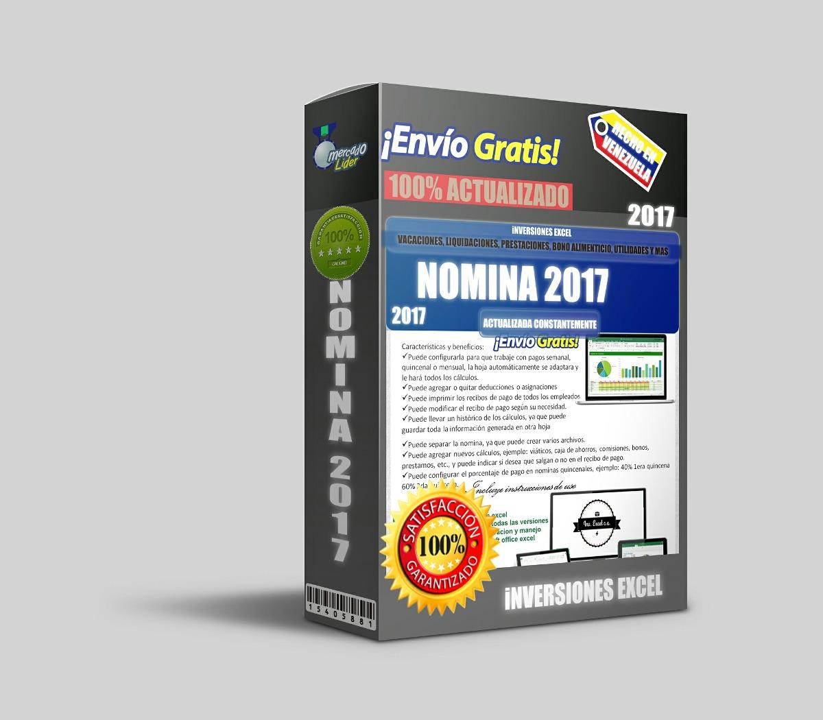 Nomina 2017 Control Recibo De Pago Lott Plantilla Hoja Excel - Bs ...