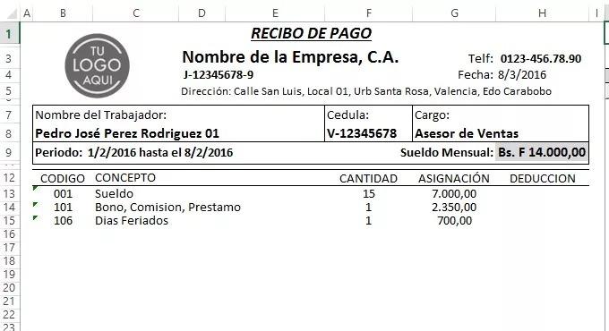 nomina 2018 control recibo de pago lottt en excel r m