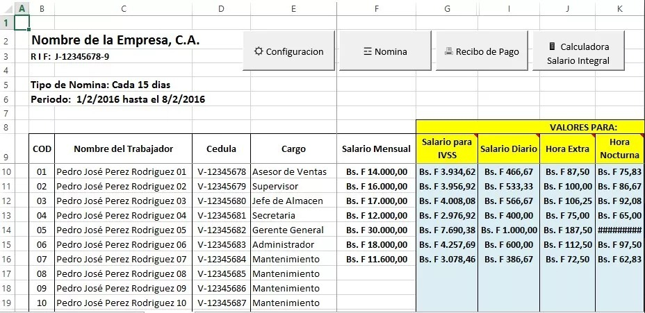 Nomina 2018 control recibo de pago lottt excel bs 200 for Calculo nomina semanal excel 2016