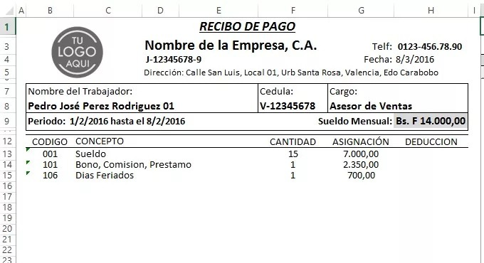 Nomina 2018 control recibo de pago lottt excel bs 200 for Modelo de nomina en excel