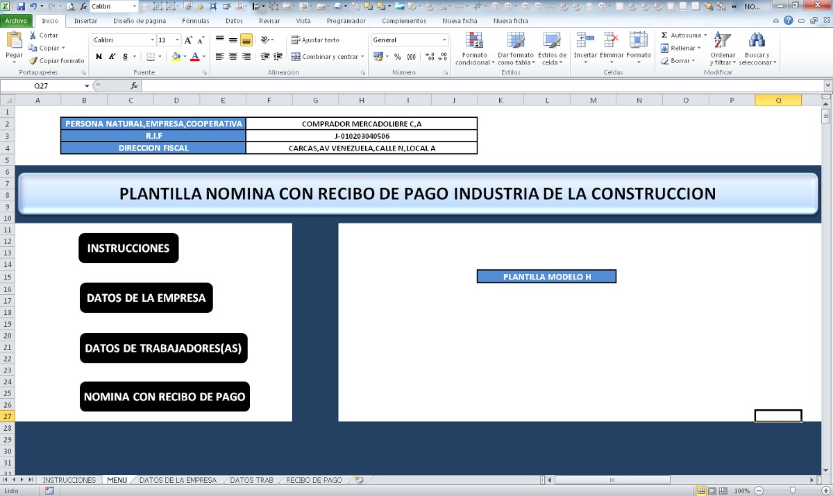 Nomina con recibo de pago sector construccion en excel for Nomina en excel xls