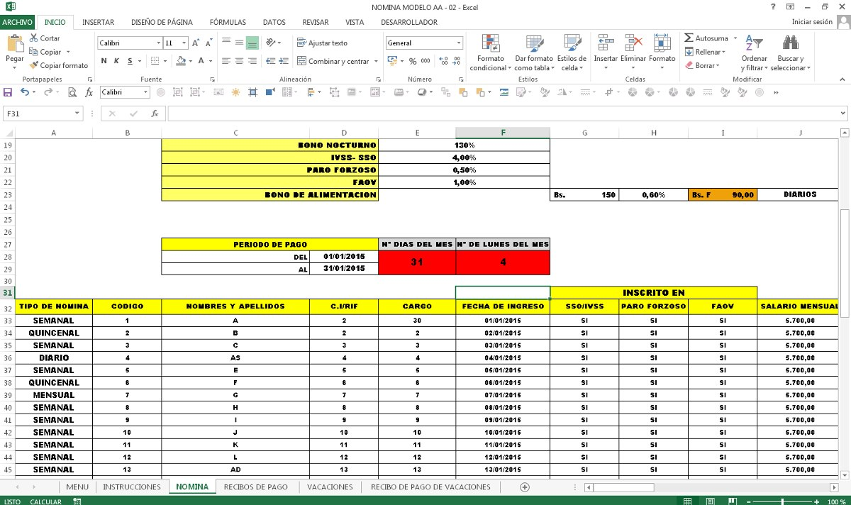 Nomina con recibos de pago en excel bs en for Calculo nomina semanal excel 2016