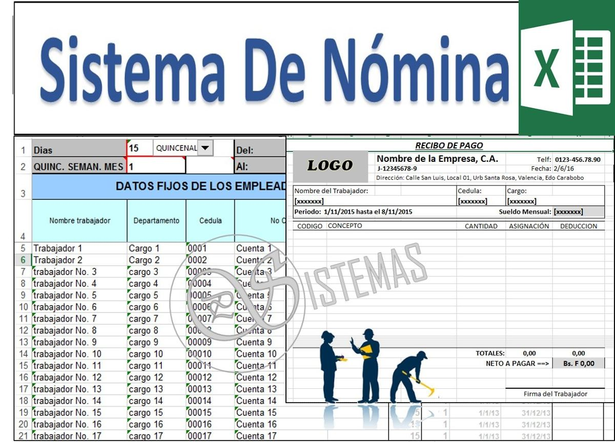 Nomina en excel recibo de pago semanal quincenal for Nomina en excel xls