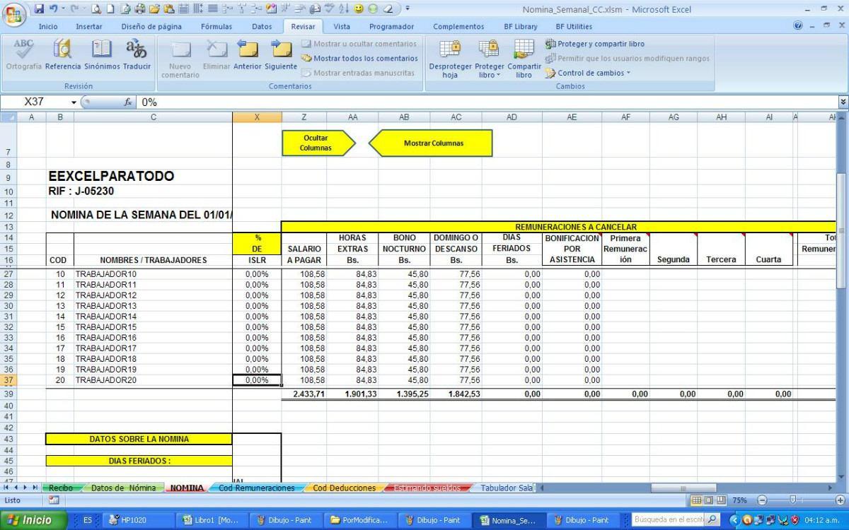 Nomina semanal contrato de la construcci n vigente bs for Como se liquida una nomina en excel