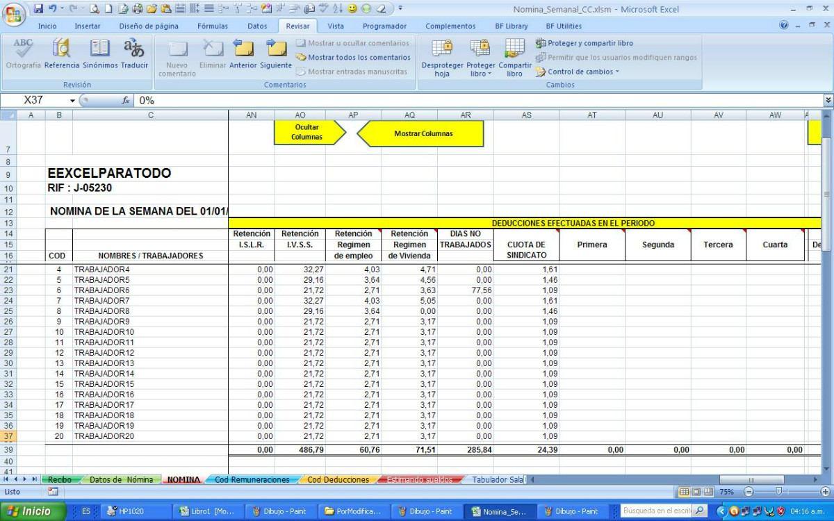 Nomina semanal contrato de la construcci n vigente bs for Plantillas de nomina en excel gratis