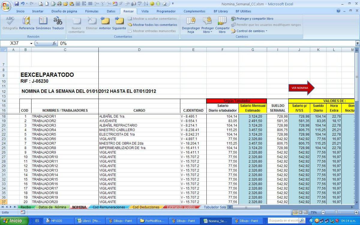 Nomina semanal contrato de la construcci n vigente bs for Formato nomina semanal