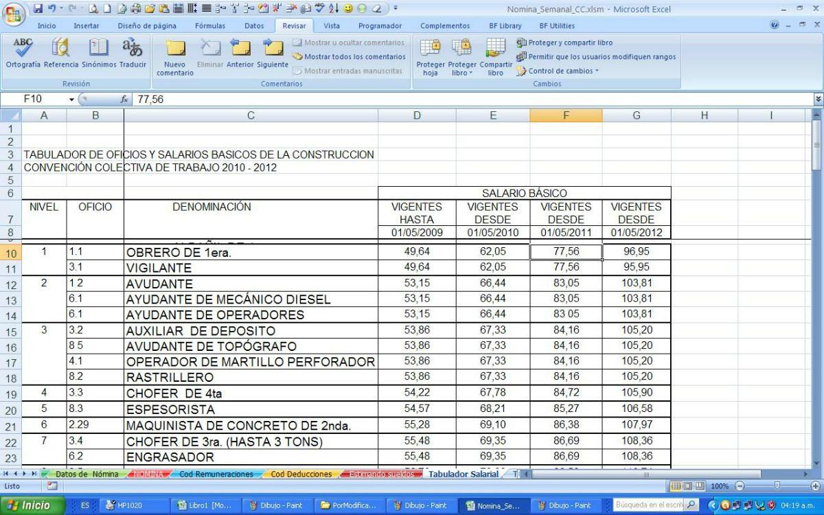 Nomina semanal contrato de la construcci n vigente Plantilla nomina