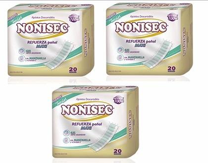 nonisec refuerza pañal descartable 3 packs x 20 unidades