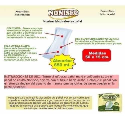 nonisec refuerza pañal maxi x 120 unidades (50x14cm) 700ml
