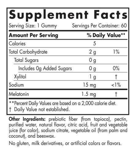 nordic naturals pro melatonin gummies - 1.5 mg melatonin per