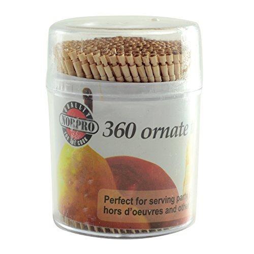norpro adornado de madera palillos de dientes, 360 piezas