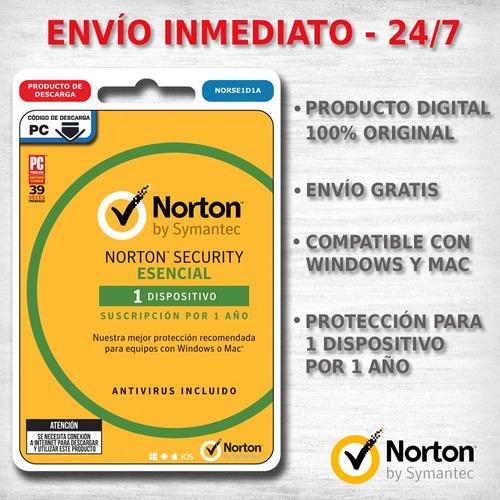 norton security esential antivirus 1 licencia 1 año digital