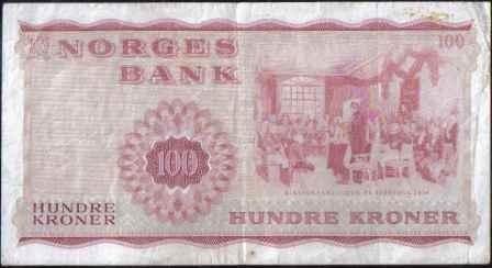 noruega 100 kroner 1975 p38g