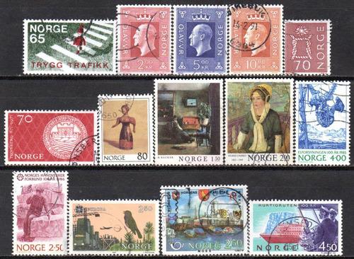 noruega - acumulação com 14 selos - 1969 a 1993