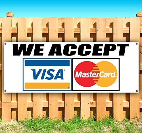 nosotros aceptamos visa mastercard letrero de vinilo resiste