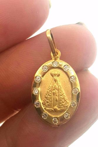nossa senhora aparecida com zirconia em ouro 18k 1.55grs