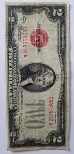 nota de 2 dolares antiga-1928-selo vermelho