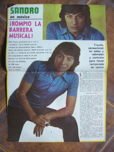 nota de sandro de revista radiolandia / 1974