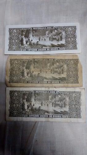 notas antigas 3 notas 5 cruzeiros cédulas antigas cedulas