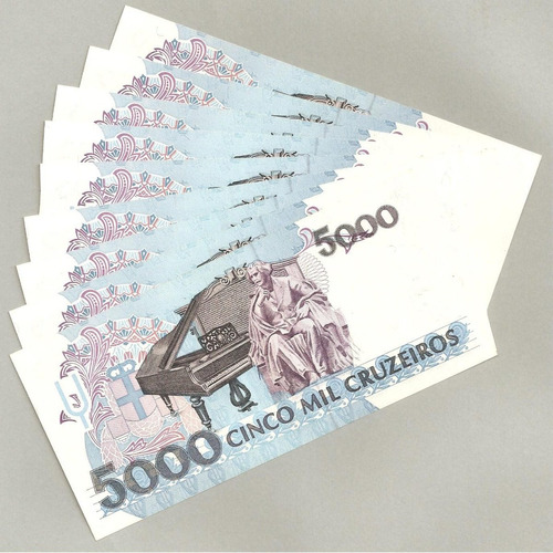 notas dinheiro antigo cédulas sequenciais 5.000 cruzeiros fe