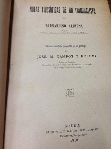 notas filosoficas de un criminalista. alimena 1913