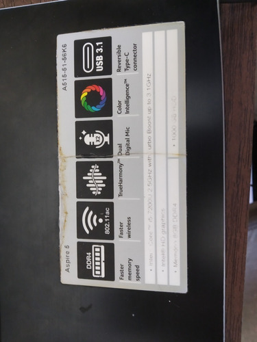 notebook acer a515-51-56k6 intel core i5 8gb 1tb tela led 15