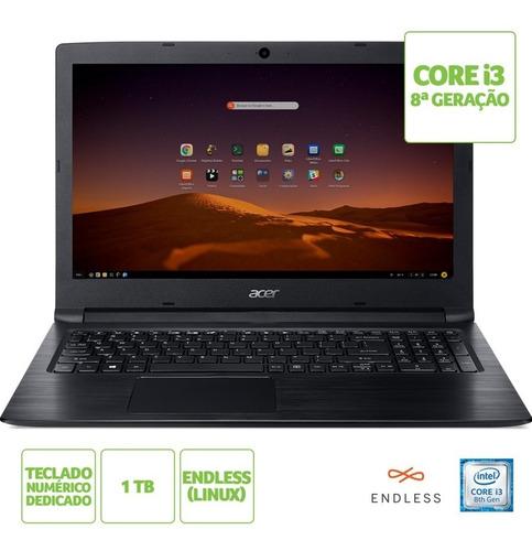 notebook acer aspire 3 a315-53-365q intel core i3 8ª geração ram 4gb hd 1tb tela 15.6'' linux endless os