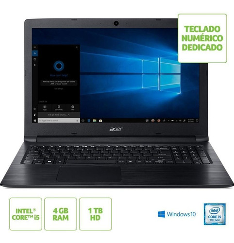 notebook acer aspire 3 a315-53-55dd intel core i5 ram 4gb hd 1tb tela 15.6  hd windows 10