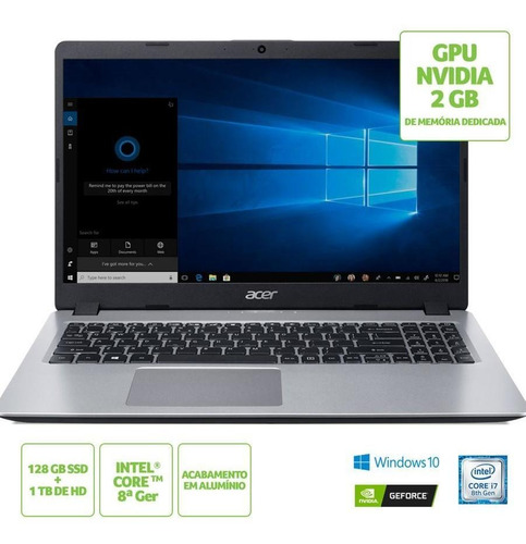notebook acer aspire 5 a515-52g-79h1 i7 8ªgeração 8gb ssd 128 gb hd 1tb nvidia geforce mx130 2gb 15.6'' hd windows 10